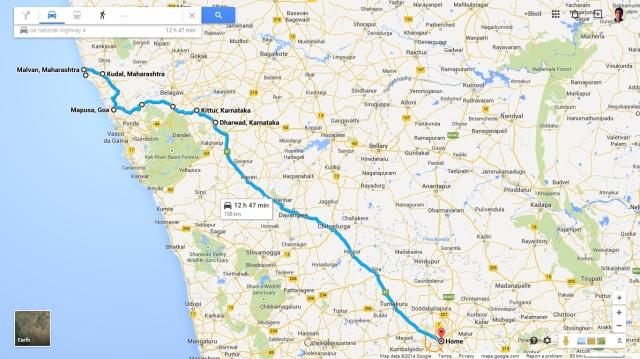 Tarkarli to Bangalore via Chorla Ghats